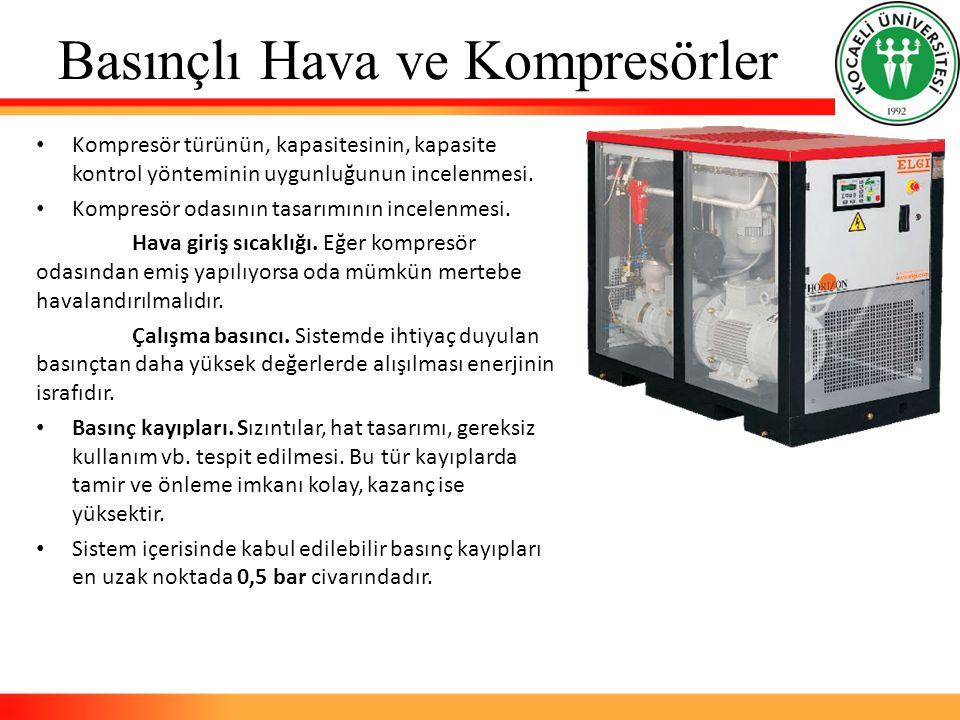 Basınçlı Hava ve Kompresörler Kompresör türünün, kapasitesinin, kapasite kontrol yönteminin uygunluğunun incelenmesi. Kompresör odasının tasarımının i