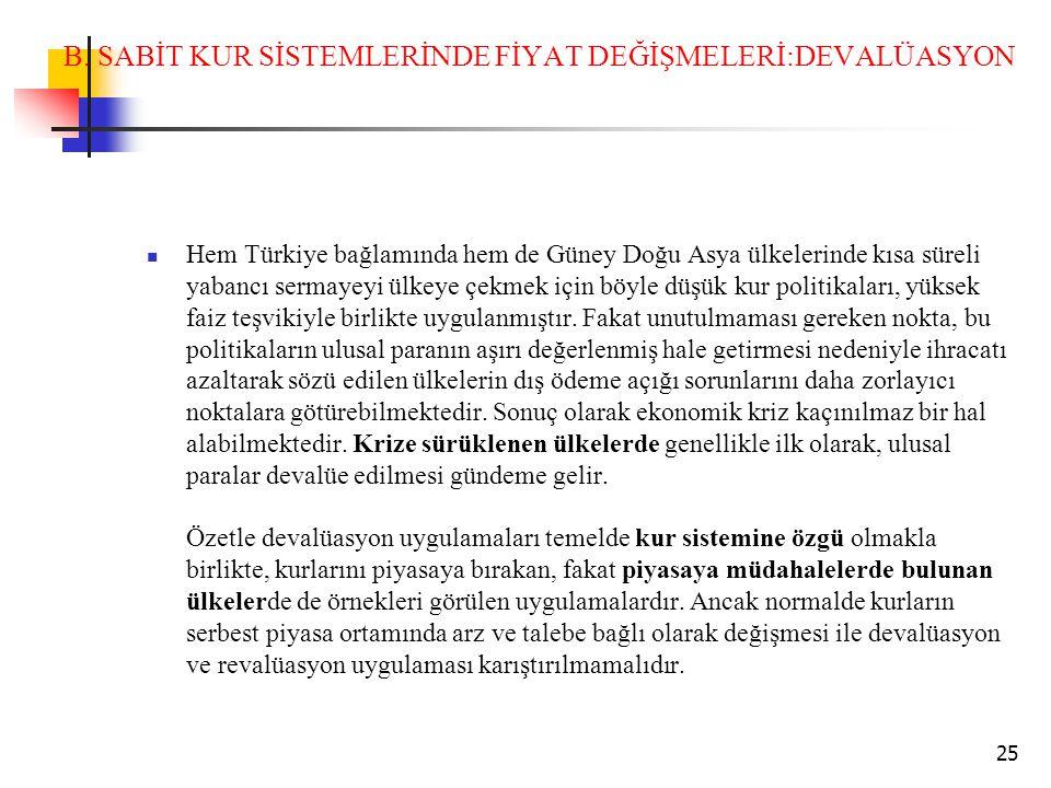 B. SABİT KUR SİSTEMLERİNDE FİYAT DEĞİŞMELERİ:DEVALÜASYON Hem Türkiye bağlamında hem de Güney Doğu Asya ülkelerinde kısa süreli yabancı sermayeyi ülkey