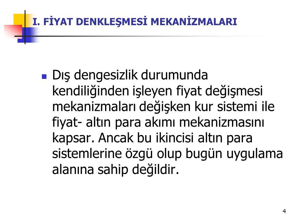 5 I.FİYAT DENKLEŞMESİ MEKANİZMALARI A.