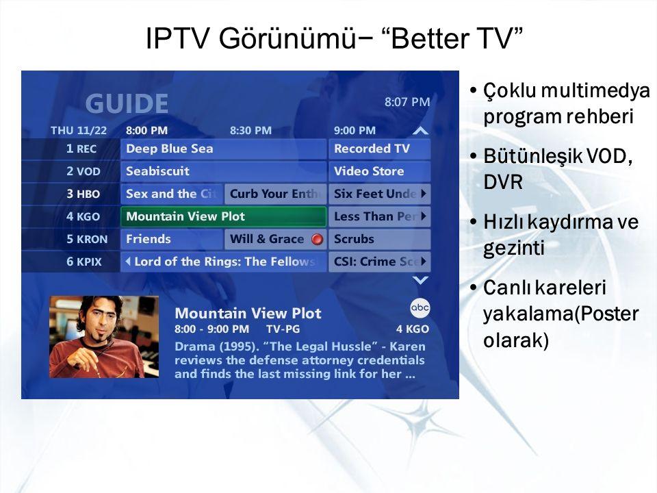 """IPTV Görünümü− """"Better TV"""" Çoklu multimedya program rehberi Bütünleşik VOD, DVR Hızlı kaydırma ve gezinti Canlı kareleri yakalama(Poster olarak)"""