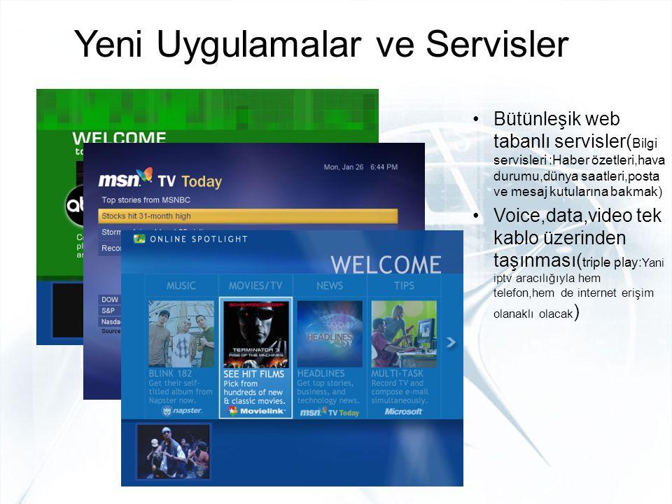 Yeni Uygulamalar ve Servisler Bütünleşik web tabanlı servisler( Bilgi servisleri :Haber özetleri,hava durumu,dünya saatleri,posta ve mesaj kutularına
