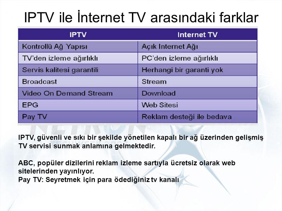 IPTV ile İnternet TV arasındaki farklar IPTV, güvenli ve sıkı bir şekilde yönetilen kapalı bir ağ üzerinden gelişmiş TV servisi sunmak anlamına gelmek