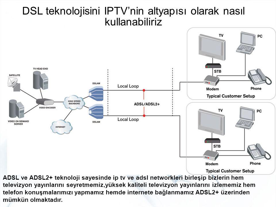 DSL teknolojisini IPTV'nin altyapısı olarak nasıl kullanabiliriz ADSL ve ADSL2+ teknoloji sayesinde ip tv ve adsl networkleri birleşip bizlerin hem te