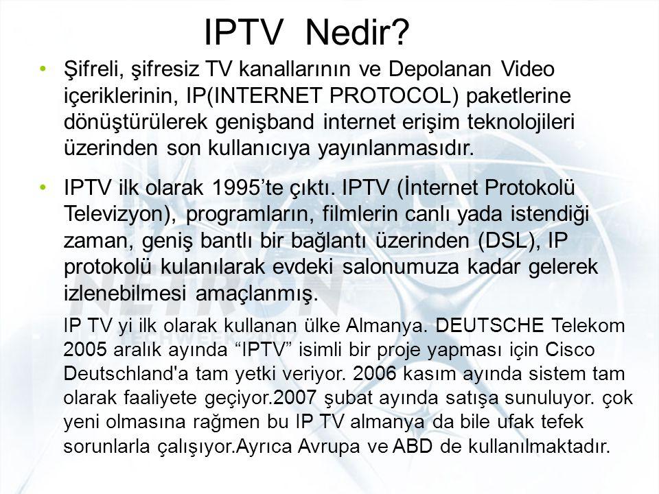 IPTV – Çalışma Biçimi IP Network Operator Headend Kullanıcı Yönetimi ve Muhasebe Serverlar  Kimler bu sisteme ulaşacak  Kimler bu IPTV'yi seyredecek  Hangi kullanıcılar seyredecek  Hangileri seyretti.hangileri ne kadar para verecek TV ve STB(Set Top Box) Operator Access Network DSL Network Altyapısı Subscription TV Services Live Media Canlı yayından gelen görüntüler On-Demand Media Video-Film Arşivleri Çalışma mantığı: –Üretilen içeriklerin gerek canlı yayın görüntüleriyle(futbolcu ile röportaj) gerekse de arşivlerindeki harddiskleri isteğe bağlı olarak belirli kullanıcılara DSL networklar üzerinden sunarak ADSL modeme ulaştırmak ve modem üzerinden de set top box denilen alıcılara ulaştırılarak kullanıcıların hizmetine sunum şeklinde gerçekleşir.