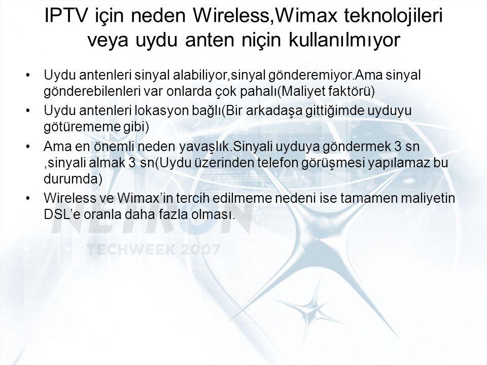 IPTV için neden Wireless,Wimax teknolojileri veya uydu anten niçin kullanılmıyor Uydu antenleri sinyal alabiliyor,sinyal gönderemiyor.Ama sinyal gönde