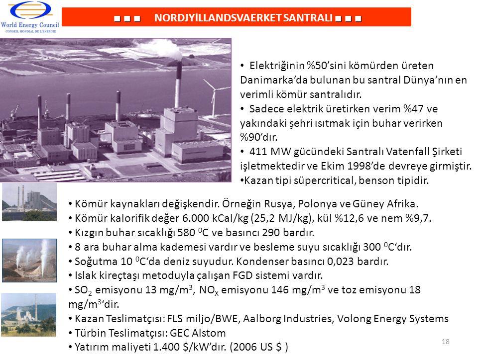 ■ ■ ■■ ■ ■ ■ ■ ■ NORDJYlLLANDSVAERKET SANTRALI ■ ■ ■ Elektriğinin %50'sini kömürden üreten Danimarka'da bulunan bu santral Dünya'nın en verimli kömür