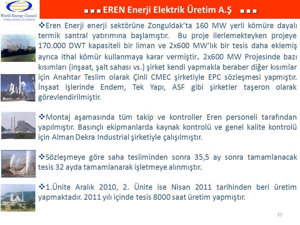  Eren Enerji enerji sektörüne Zonguldak'ta 160 MW yerli kömüre dayalı termik santral yatırımına başlamıştır. Bu proje ilerlemekteyken projeye 170.000