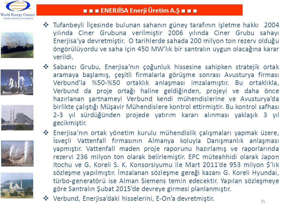 ■ ■ ■■ ■ ■ ■ ■ ■ ENERJİSA Enerji Üretim A.Ş ■ ■ ■  Tufanbeyli İlçesinde bulunan sahanın güney tarafının işletme hakkı 2004 yılında Ciner Grubuna veri