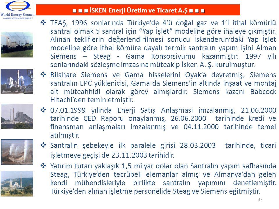 ■ ■ ■■ ■ ■ ■ ■ ■ İSKEN Enerji Üretim ve Ticaret A.Ş ■ ■ ■  TEAŞ, 1996 sonlarında Türkiye'de 4'ü doğal gaz ve 1'i ithal kömürlü santral olmak 5 santra