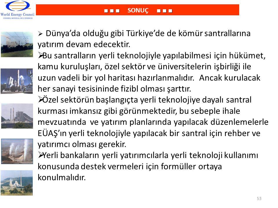 ■ ■ ■■ ■ ■ ■ ■ ■ SONUÇ ■ ■ ■  Dünya'da olduğu gibi Türkiye'de de kömür santrallarına yatırım devam edecektir.  Bu santralların yerli teknolojiyle ya