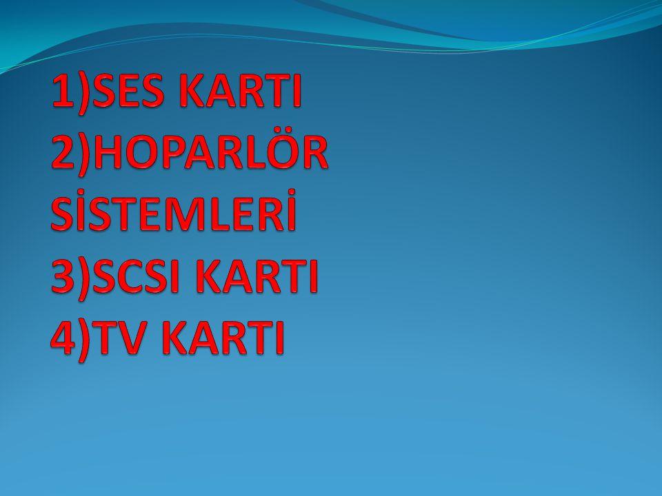 SES KARTI Ses kartı, sayısal olarak tutulan ses bilgilerini analog ses sinyallerine ve aynı zamanda da analog ses sinyallerini sayısala dönüştürmektedir.