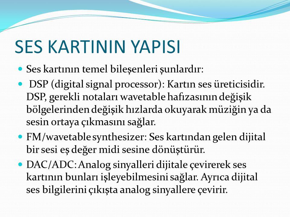 SES KARTININ YAPISI Ses kartının temel bileşenleri şunlardır: DSP (digital signal processor): Kartın ses üreticisidir. DSP, gerekli notaları wavetable