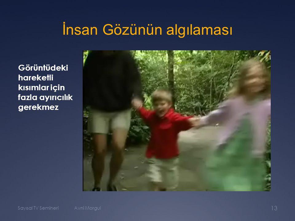 Sayısal TV SemineriAvni Morgul 13 İnsan Gözünün algılaması Görüntüdeki hareketli kısımlar için fazla ayırıcılık gerekmez