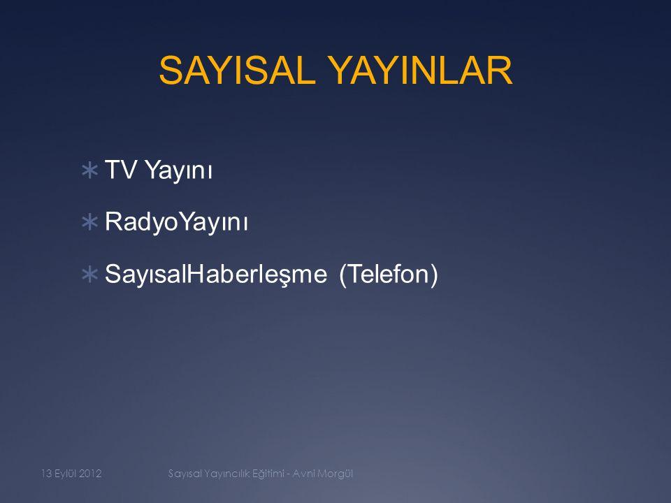 YAYIN ORTAMLARI  KarasalYayın  UyduYayını  KabloYayını  Internet Yayını (IPTV) 13 Eylül 2012Sayısal Yayıncılık Eğitimi - Avni Morgül