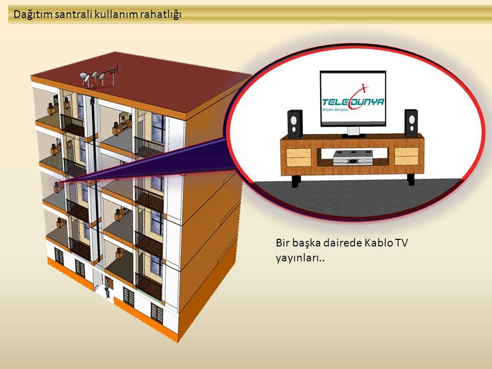 Bir başka dairede Kablo TV yayınları.. Dağıtım santrali kullanım rahatlığı