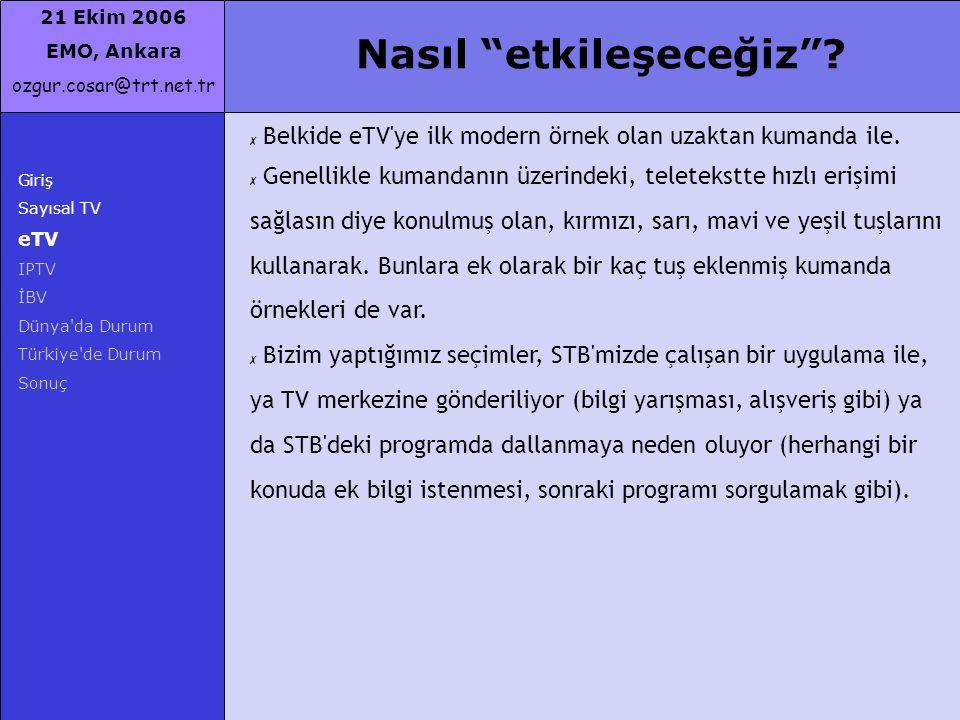 """21 Ekim 2006 EMO, Ankara ozgur.cosar@trt.net.tr Giriş Sayısal TV eTV IPTV İBV Dünya'da Durum Türkiye'de Durum Sonuç Nasıl """"etkileşeceğiz""""? ✗ Belkide e"""