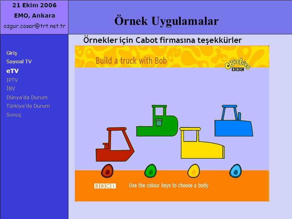 21 Ekim 2006 EMO, Ankara ozgur.cosar@trt.net.tr Örnek Uygulamalar Örnekler için Cabot firmasına teşekkürler Giriş Sayısal TV eTV IPTV İBV Dünya'da Dur