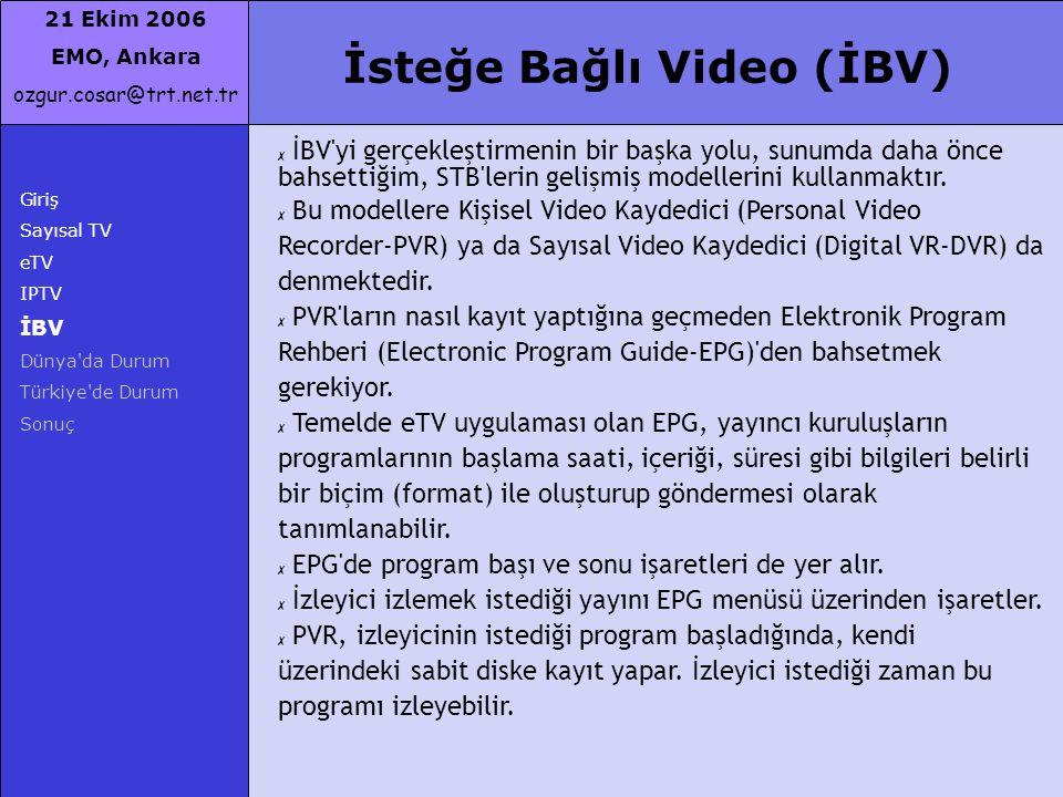 21 Ekim 2006 EMO, Ankara ozgur.cosar@trt.net.tr İsteğe Bağlı Video (İBV) Giriş Sayısal TV eTV IPTV İBV Dünya'da Durum Türkiye'de Durum Sonuç ✗ İBV'yi