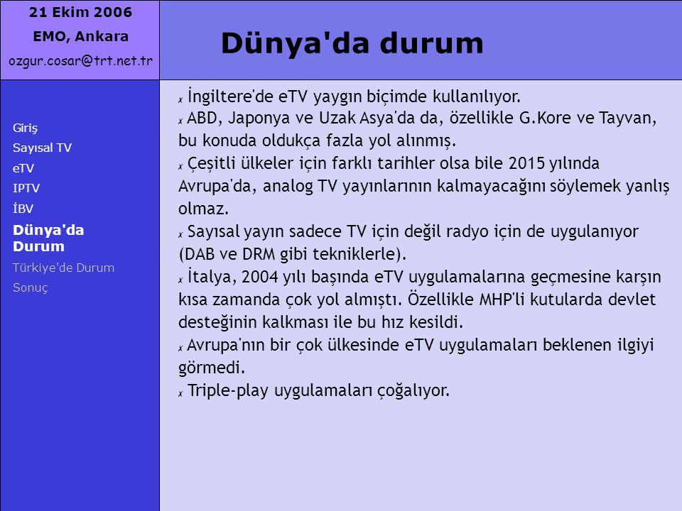 21 Ekim 2006 EMO, Ankara ozgur.cosar@trt.net.tr Giriş Sayısal TV eTV IPTV İBV Dünya'da Durum Türkiye'de Durum Sonuç Dünya'da durum ✗ İngiltere'de eTV