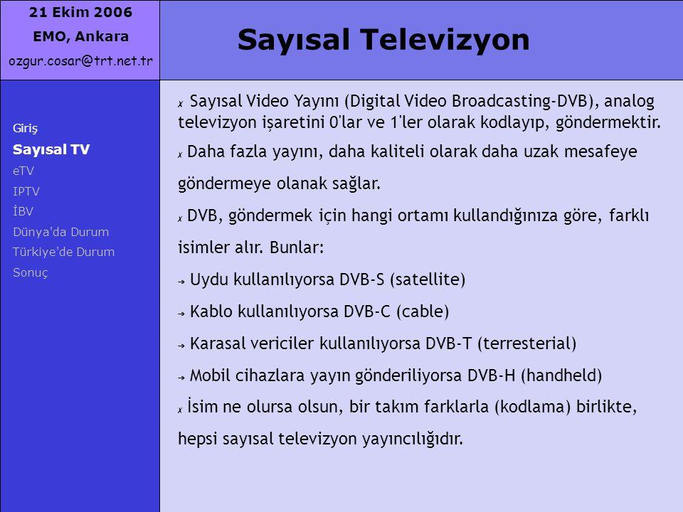 21 Ekim 2006 EMO, Ankara ozgur.cosar@trt.net.tr Sayısal Televizyon Giriş Sayısal TV eTV IPTV İBV Dünya'da Durum Türkiye'de Durum Sonuç ✗ Sayısal Video