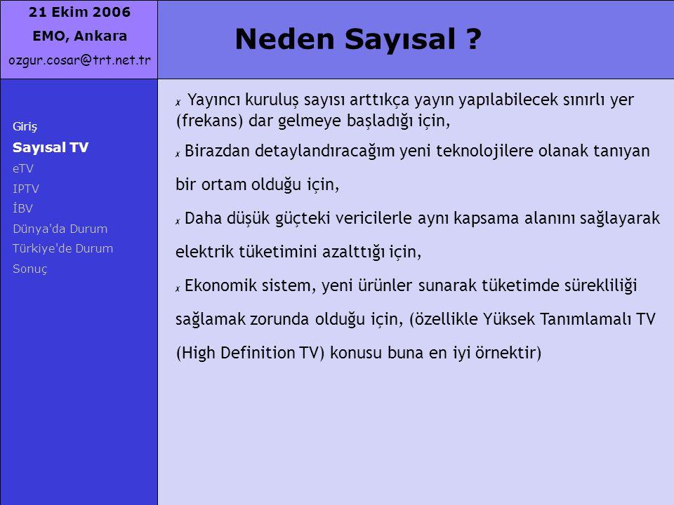 21 Ekim 2006 EMO, Ankara ozgur.cosar@trt.net.tr Neden Sayısal ? Giriş Sayısal TV eTV IPTV İBV Dünya'da Durum Türkiye'de Durum Sonuç ✗ Yayıncı kuruluş