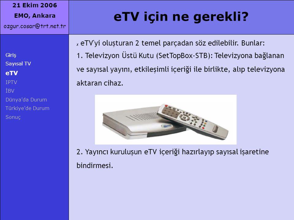 21 Ekim 2006 EMO, Ankara ozgur.cosar@trt.net.tr Giriş Sayısal TV eTV IPTV İBV Dünya'da Durum Türkiye'de Durum Sonuç eTV için ne gerekli? ✗ eTV'yi oluş