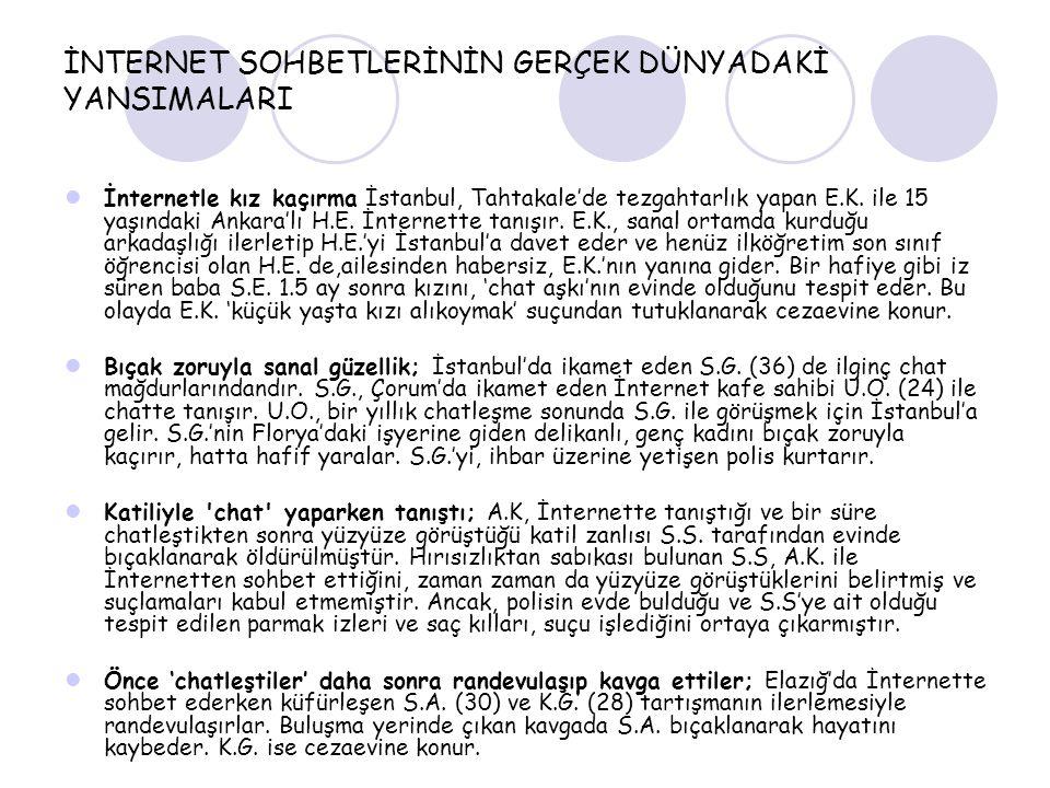 İNTERNET SOHBETLERİNİN GERÇEK DÜNYADAKİ YANSIMALARI İnternetle kız kaçırma İstanbul, Tahtakale'de tezgahtarlık yapan E.K. ile 15 yaşındaki Ankara'lı H