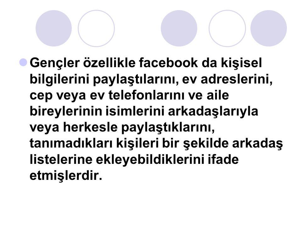 Gençler özellikle facebook da kişisel bilgilerini paylaştılarını, ev adreslerini, cep veya ev telefonlarını ve aile bireylerinin isimlerini arkadaşlar