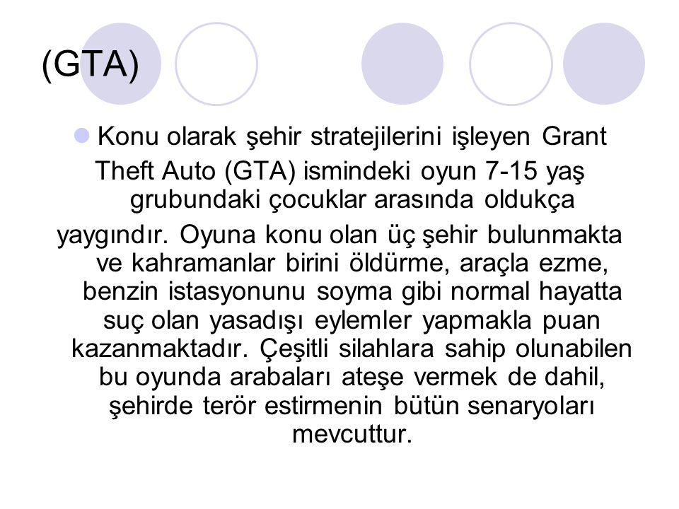 (GTA) Konu olarak şehir stratejilerini işleyen Grant Theft Auto (GTA) ismindeki oyun 7-15 yaş grubundaki çocuklar arasında oldukça yaygındır. Oyuna ko