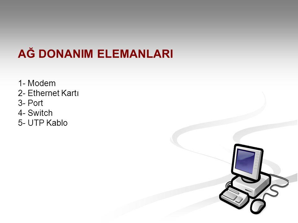 AĞ DONANIM ELEMANLARI 1- Modem 2- Ethernet Kartı 3- Port 4- Switch 5- UTP Kablo