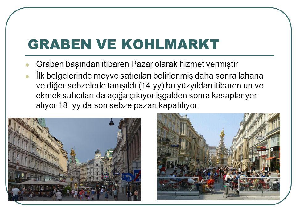 GRABEN VE KOHLMARKT Graben başından itibaren Pazar olarak hizmet vermiştir İlk belgelerinde meyve satıcıları belirlenmiş daha sonra lahana ve diğer se