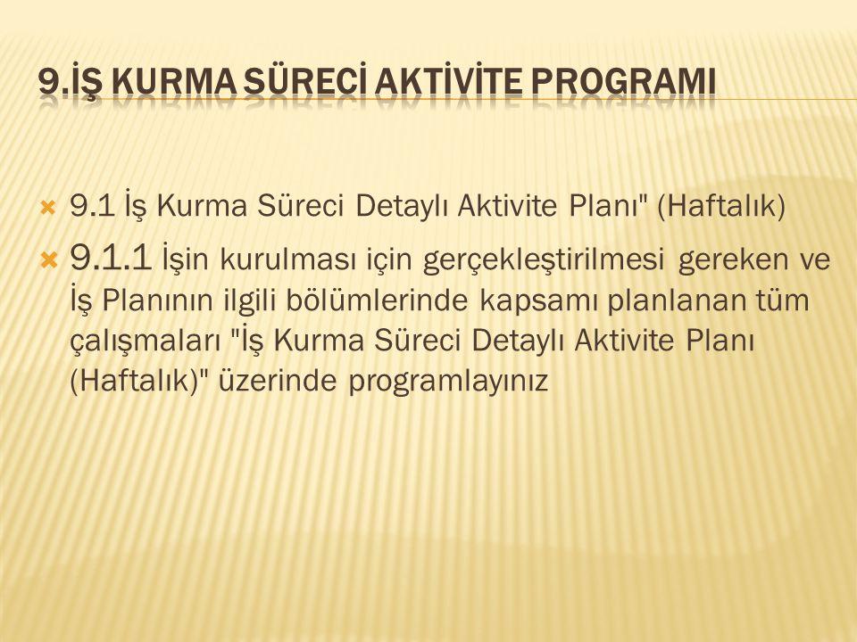  9.1 İş Kurma Süreci Detaylı Aktivite Planı