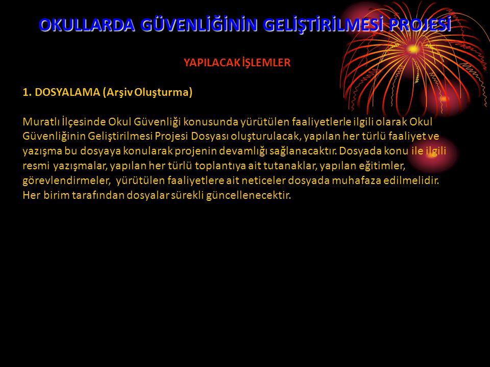 OKULLARDA GÜVENLİĞİNİN GELİŞTİRİLMESİ PROJESİ YAPILACAK İŞLEMLER 2.