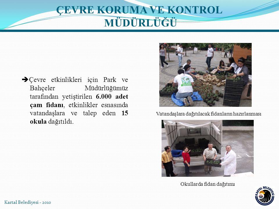 Kartal Belediyesi - 2010  Çevre etkinlikleri için Park ve Bahçeler Müdürlüğümüz tarafından yetiştirilen 6.000 adet çam fidanı, etkinlikler esnasında vatandaşlara ve talep eden 15 okula dağıtıldı.