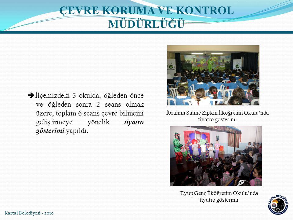 Kartal Belediyesi - 2010  İlçemizdeki 3 okulda, öğleden önce ve öğleden sonra 2 seans olmak üzere, toplam 6 seans çevre bilincini geliştirmeye yönelik tiyatro gösterimi yapıldı.