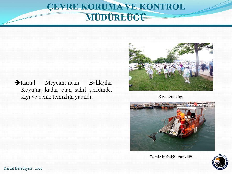 Kartal Belediyesi - 2010  Kartal Meydanı'ndan Balıkçılar Koyu'na kadar olan sahil şeridinde, kıyı ve deniz temizliği yapıldı.