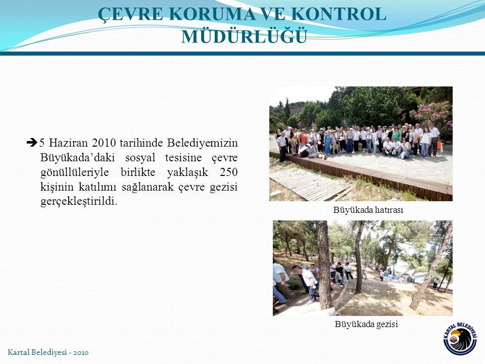 Kartal Belediyesi - 2010  5 Haziran 2010 tarihinde Belediyemizin Büyükada'daki sosyal tesisine çevre gönüllüleriyle birlikte yaklaşık 250 kişinin katılımı sağlanarak çevre gezisi gerçekleştirildi.