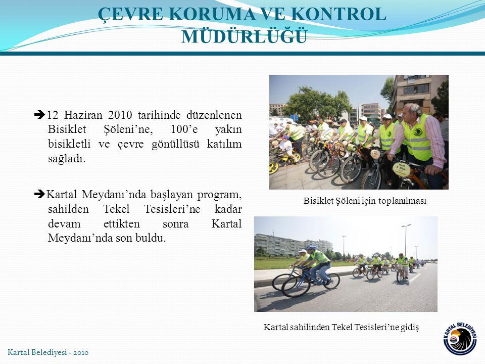 Kartal Belediyesi - 2010  12 Haziran 2010 tarihinde düzenlenen Bisiklet Şöleni'ne, 100'e yakın bisikletli ve çevre gönüllüsü katılım sağladı.