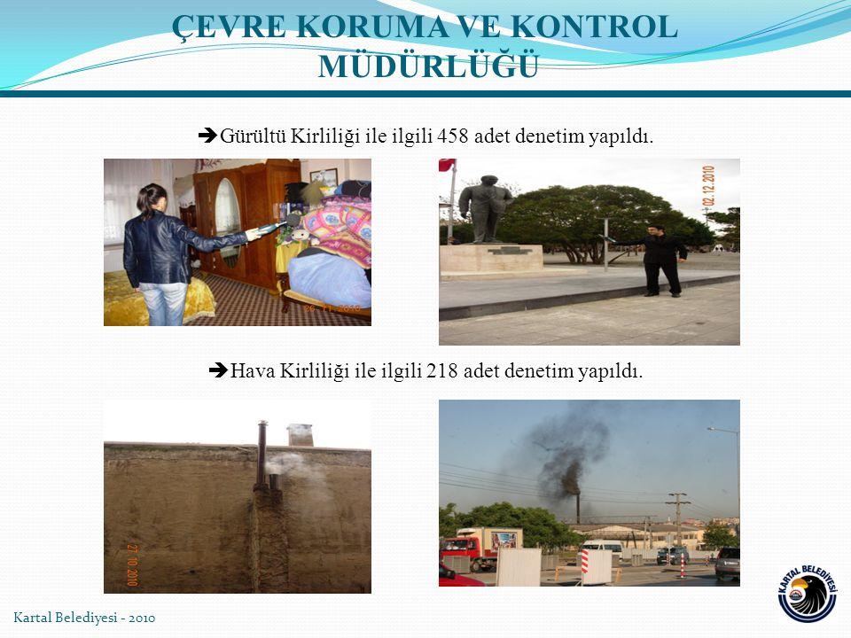 Kartal Belediyesi - 2010  Gürültü Kirliliği ile ilgili 458 adet denetim yapıldı.