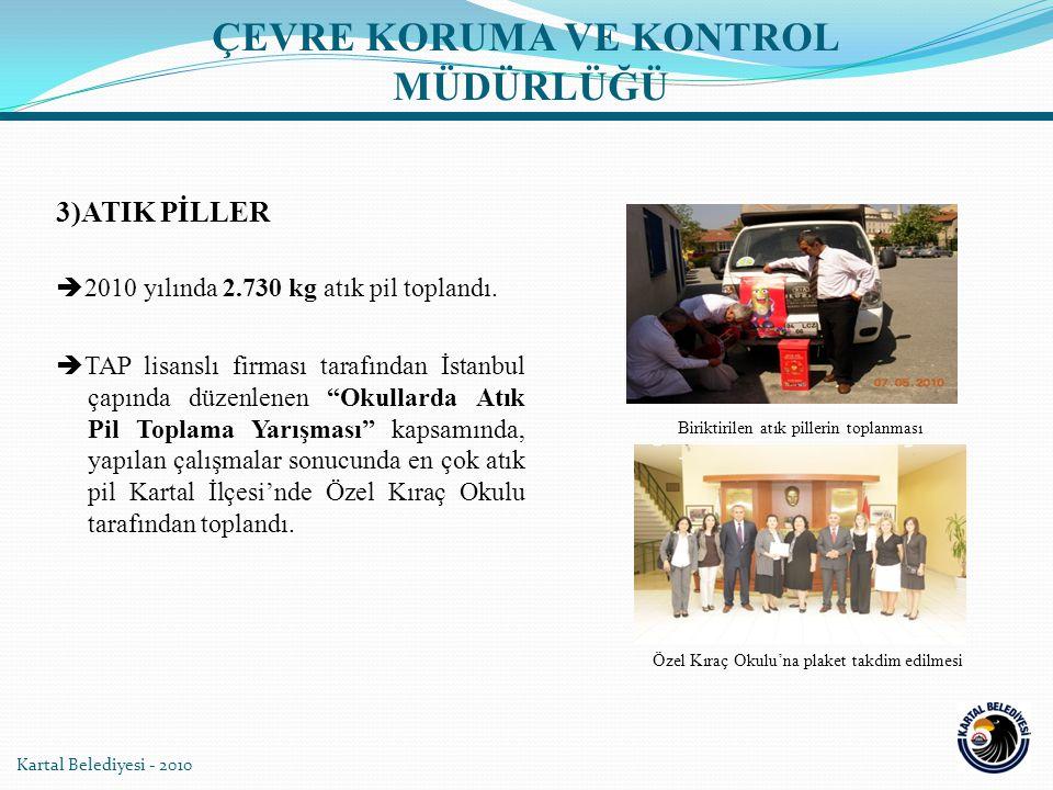 Kartal Belediyesi - 2010 Biriktirilen atık pillerin toplanması Özel Kıraç Okulu'na plaket takdim edilmesi 3)ATIK PİLLER  2010 yılında 2.730 kg atık pil toplandı.