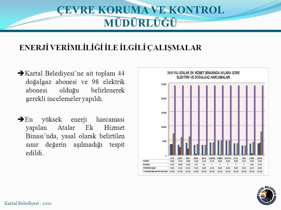 Kartal Belediyesi'ne ait toplam 44 doğalgaz abonesi ve 98 elektrik abonesi olduğu belirlenerek gerekli incelemeler yapıldı.