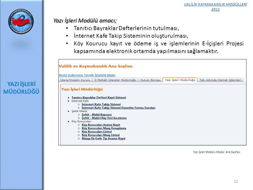VALİLİK KAYMAKAMLIK MODÜLLERİ 2011 YAZI İŞLERİ MÜDÜRLÜĞÜ 12 Yazı İşleri Modülü amacı; Tanıtıcı Bayraklar Defterlerinin tutulması, İnternet Kafe Takip