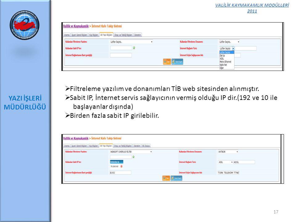 VALİLİK KAYMAKAMLIK MODÜLLERİ 2011 YAZI İŞLERİ MÜDÜRLÜĞÜ 17  Filtreleme yazılım ve donanımları TİB web sitesinden alınmıştır.  Sabit IP, İnternet se