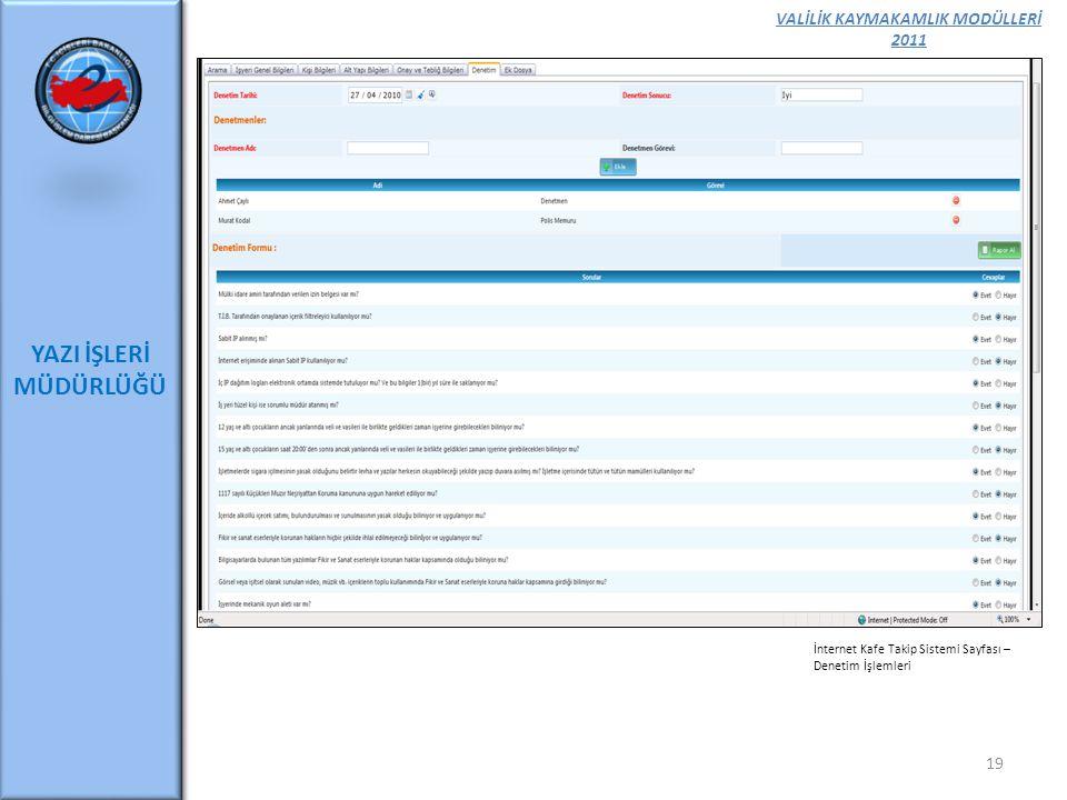 VALİLİK KAYMAKAMLIK MODÜLLERİ 2011 YAZI İŞLERİ MÜDÜRLÜĞÜ 19 İnternet Kafe Takip Sistemi Sayfası – Denetim İşlemleri