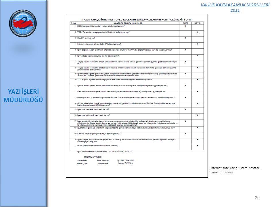 VALİLİK KAYMAKAMLIK MODÜLLERİ 2011 YAZI İŞLERİ MÜDÜRLÜĞÜ 20 İnternet Kafe Takip Sistemi Sayfası – Denetim Formu