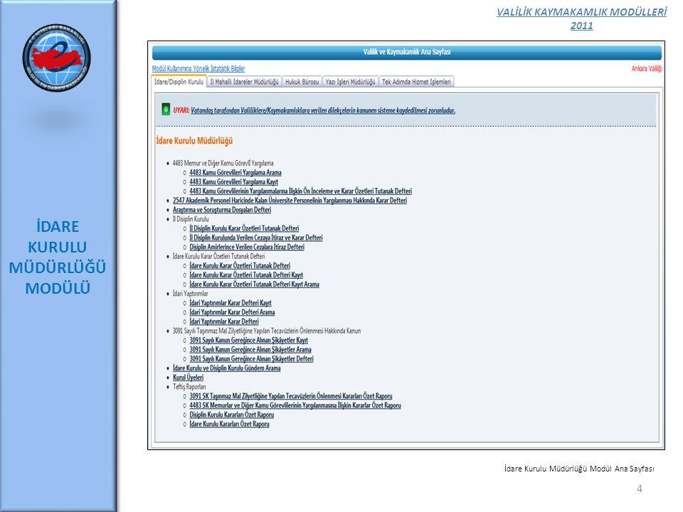 VALİLİK KAYMAKAMLIK MODÜLLERİ 2011 İDARE KURULU MÜDÜRLÜĞÜ MODÜLÜ 4 İdare Kurulu Müdürlüğü Modül Ana Sayfası
