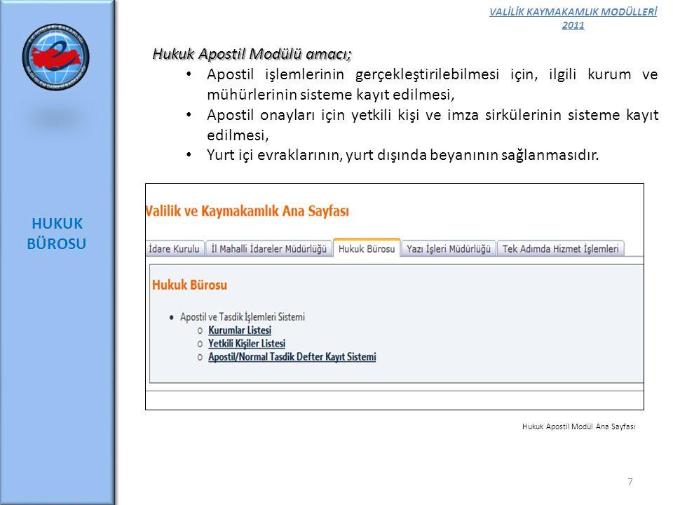 VALİLİK KAYMAKAMLIK MODÜLLERİ 2011 HUKUK BÜROSU 7 Hukuk Apostil Modülü amacı; Apostil işlemlerinin gerçekleştirilebilmesi için, ilgili kurum ve mühürl