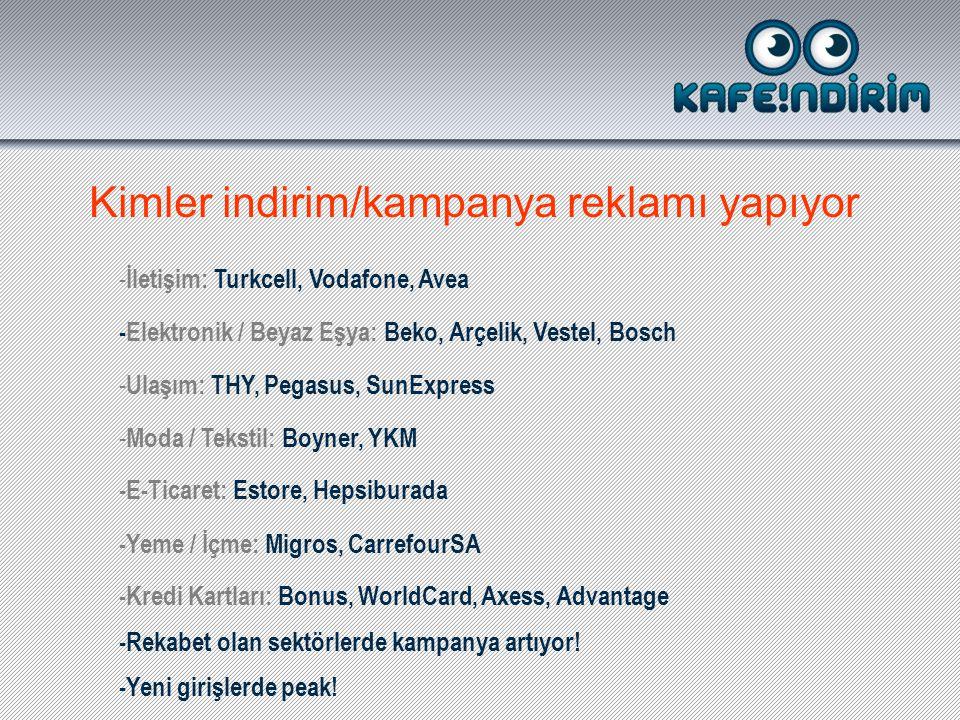 Kimler indirim/kampanya reklamı yapıyor - İletişim: Turkcell, Vodafone, Avea -Elektronik / Beyaz Eşya: Beko, Arçelik, Vestel, Bosch - Ulaşım: THY, Pegasus, SunExpress - Moda / Tekstil: Boyner, YKM -E-Ticaret: Estore, Hepsiburada -Kredi Kartları: Bonus, WorldCard, Axess, Advantage -Yeme / İçme: Migros, CarrefourSA -Yeni girişlerde peak.