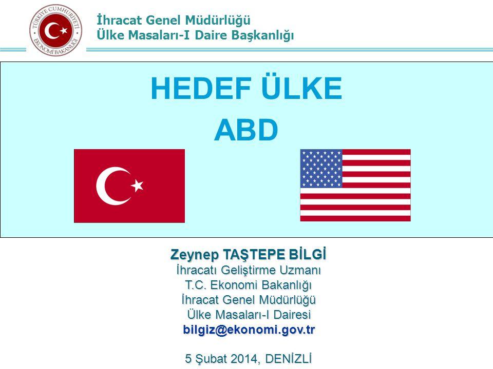 İhracat Genel Müdürlüğü Ülke Masaları-I Daire Başkanlığı AJANDA ABD'ye İhracat Fırsatları ABD Genel Ticari Durum Türkiye'nin ABD'ye İhracatı ABD GTS Programı Neden ABD.