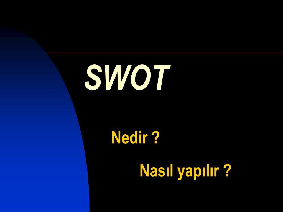 İngilizce kelimelerin baş harflerinin birleştirilmesi ile adlandırılan ve buna bağlı olarak kısaca SWOT olarak adlandırılan bir analiz aracıdır